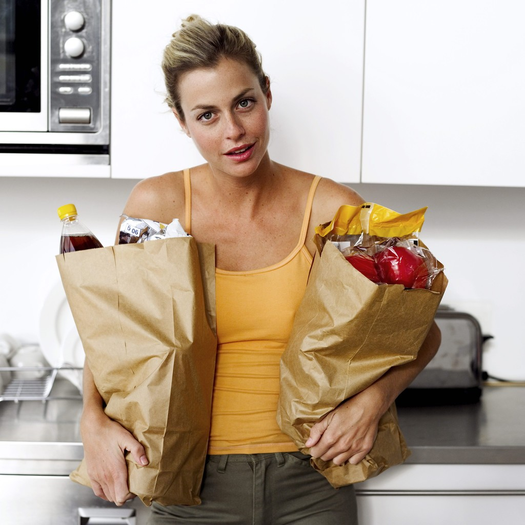 strong woman groceries