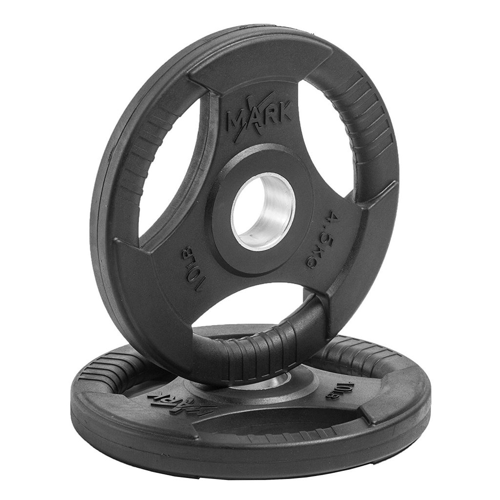 XMark Fitness Premium Quality Rubber Coated Tri-grip Olympic Plate Weights