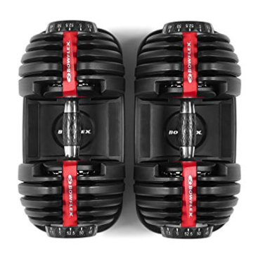 The Bowflex SelectTech dumbbell adjusts quickly and easily.