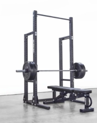 The Rogue HR-2 half rack pairs with any weight bench.
