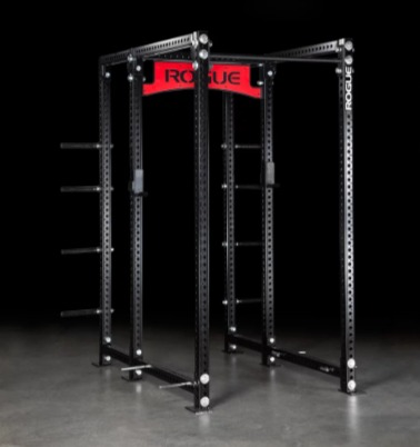 The Rogue RM-6 power rack comes with plate and band storage.