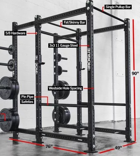 The Rogue RML-690 is a high end power rack with multiple accessories.
