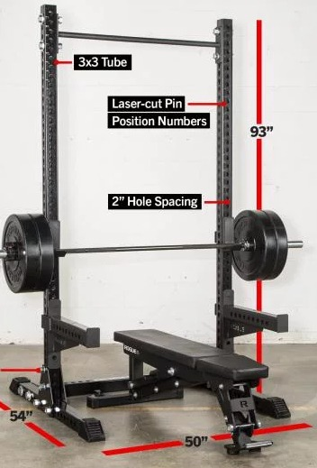 The Rogue SM-2 Squat Stand features 93 inch uprights.