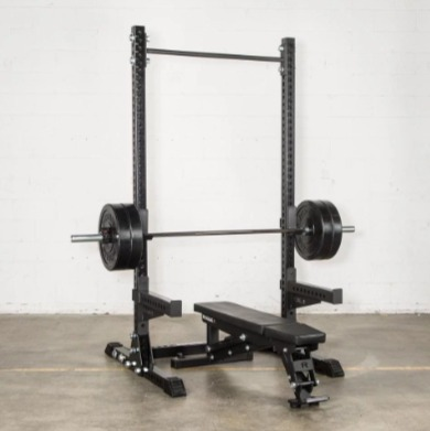 The Rogue SM-2 squat rack pairs with any bench.