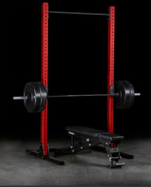 The Rogue SML-2C squat rack pairs with any bench.