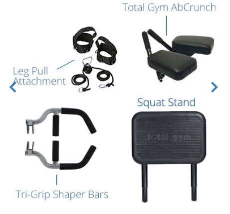 The Total Gym Supreme includes several attachments.