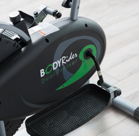 The Body Rider Deluxe Dual Trainer features textured elliptical pedals.