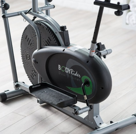 The Body Rider Dual Trainer features a steel flywheel.