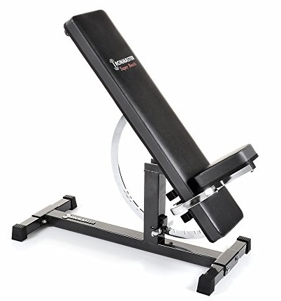 The Ironmaster Super Bench features a unique incline/decline adjustment mechanism.