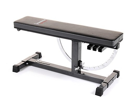 The Ironmaster Super Bench lays flat with no gap between back and seat.