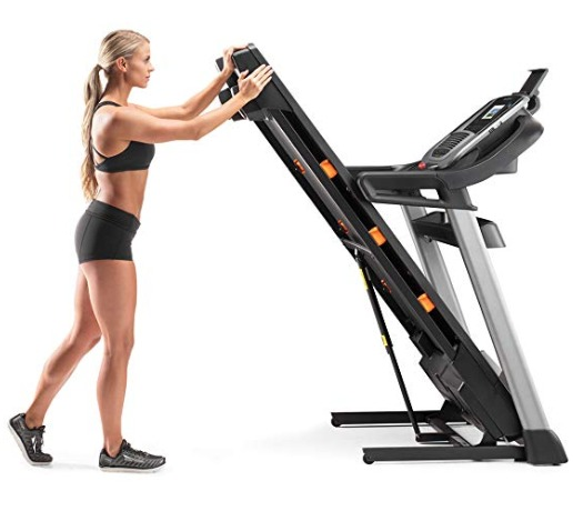 The NordicTrack C 990 treadmill can be folded for easy storage.