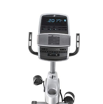 The NordicTrack GX 4.7 R recumbent bike features adjustable leveling feet.