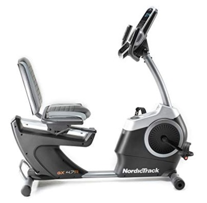 The NordicTrack GX 4.7 R recumbent bike has a large display.