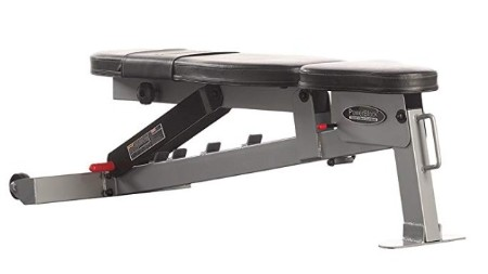 The Powerblock SportBench lays flat with a minimal pad gap.