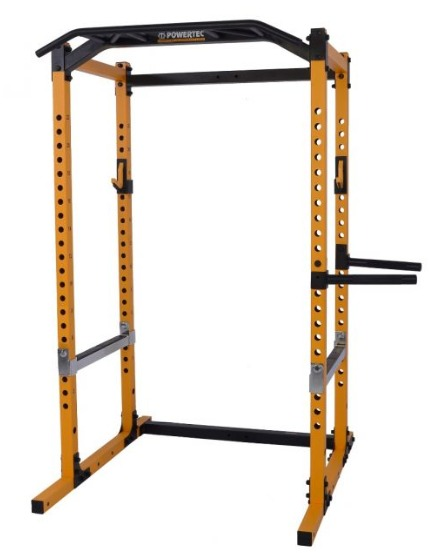 The Powertec Workbench Power Rack comes in black or yellow.