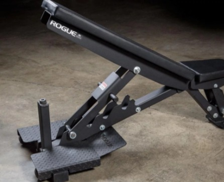 The Rogue Adjustable Bench 2.0 has a handle for easy transport.