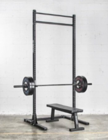 The Rogue S 3 squat stand can be configured with almost any bench.