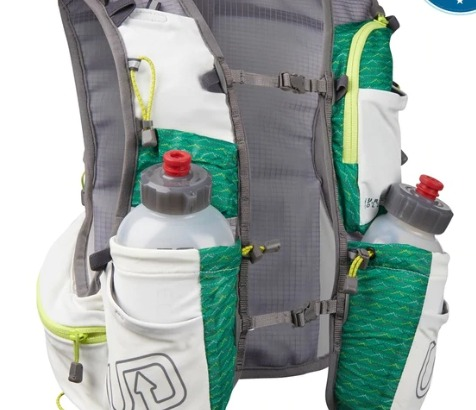 The Ultimate Direction Jurek FKT vest has extra bungee storage in back.