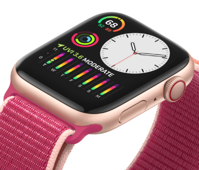 The Apple Series 5 watch has an always on time and date display.