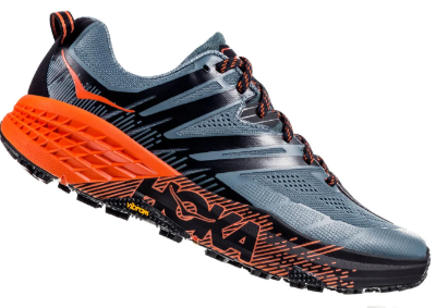 The Hoka Speedgoat 3 trail running shoe features extra cushioning and support.