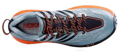 The Hoka Speedgoat 3 trail running shoe features the Hoka rocker outsole.