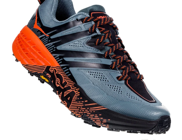 The Hoka Speedgoat 3 trail running shoe uses a mesh upper.