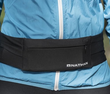 The Nathan Zipster belt has no zippers or buckles to adjust.