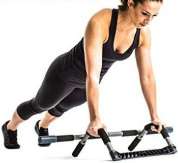 The Perfect Fitness Multi Gym Pro can come off the door frame for dips.