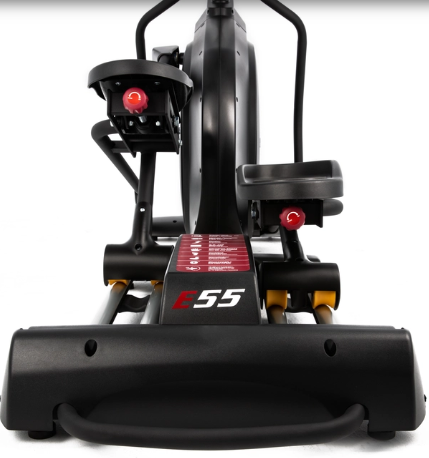 The Sole Fitness E35 elliptical trainer has ergonomic pedals for smooth rotation.