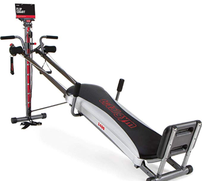 The Total Gym 1400 includes several attachments for working different muscle groups.
