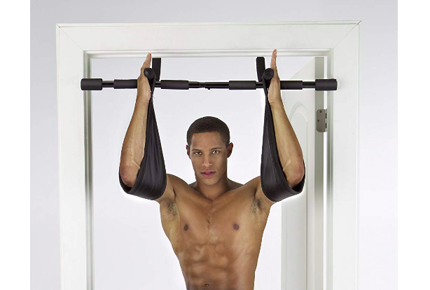 Gold's Gym Pull Up Bar Straps In Use