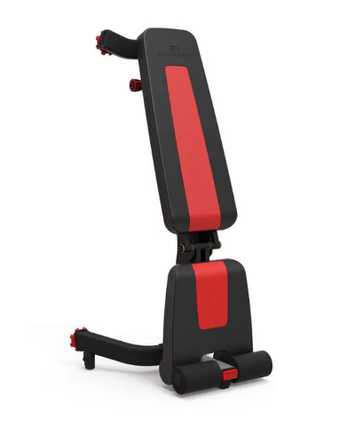 The Bowflex 5.1S weight bench folds to store upright.