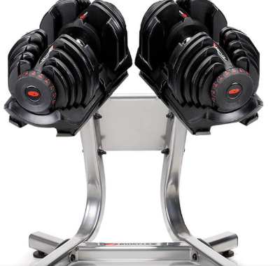 The Bowflex Selecttech 1090 dumbbell goes up to 90 pounds.