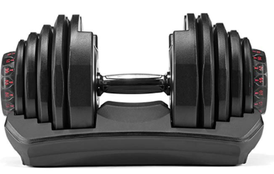 The Bowflex Selecttech 1090 dumbbells save you space in your home gym.