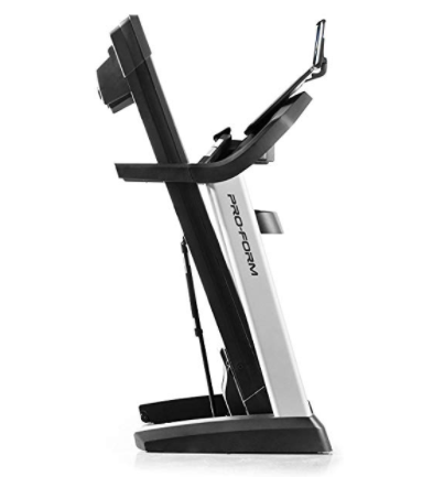 The Proform Pro 2000 treadmill folds in half when not being used.