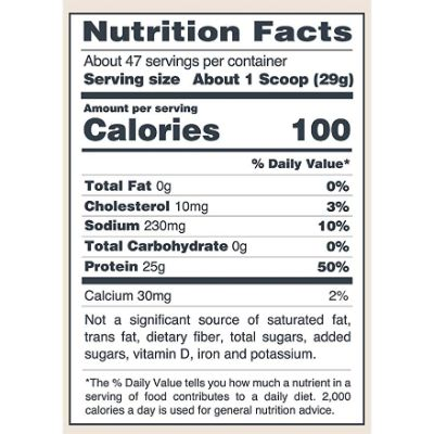 isopure nutrition label