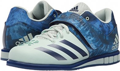 The Adidas Powerlift 3.1 is made of leather and synthetics.