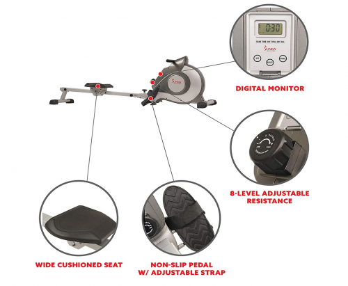 Sunny Health & Fitness SF-RW5515 Magnetic Rowing Machine Specs