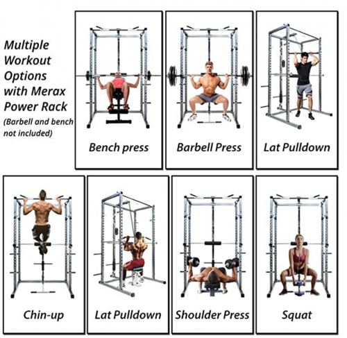 Merax Athletics Fitness Power Rack Olympic Squat Cage Home Gym with LAT Pull Attachment 2