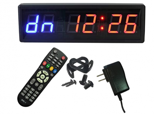 """Ledgital Gym Timer 2.3"""" High Character Interval Timer for Home Gym 15""""x5"""" Workout Crossfit Clock with Remote Control"""