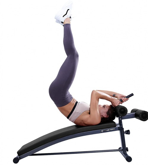 Finer Form Sit Up Bench with Reverse Crunch Handle for Ab Exercises