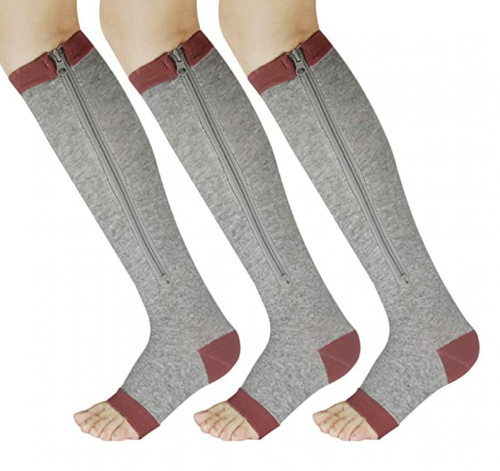YUSHOW 3 Pairs Zipper Compression Socks Women with Open Toe Toeless Support Stockings