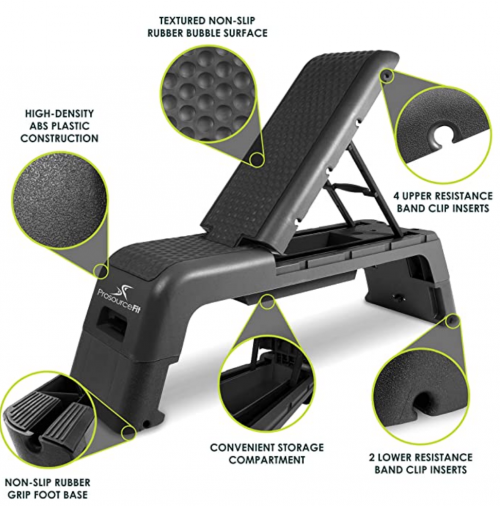 ProsourceFit Fitness Aerobic Deck Stepper with Resistance Band