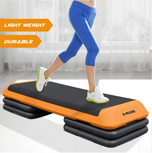 MaxKare Steppers Aerobic Exercise Height Adjustable Exercise Platform with 4 Risers