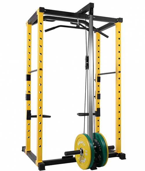 HulkFit 1000-Pound Capacity Multi-Function Adjustable Power Cage with J-Hooks and Dip Bars
