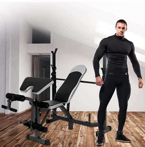 Tomasar Olympic Weight Bench with Preacher Curl