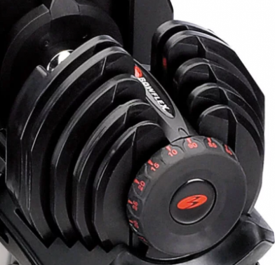 The Bowflex Selecttech 1090 dumbbell changes resistance quickly.