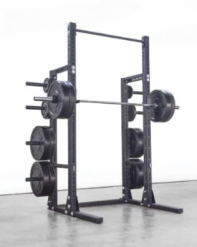 The Rogue HR-2 squat rack offers plate storage.