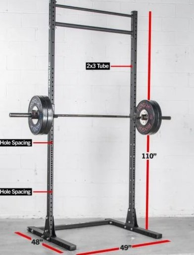 The Rogue SR 3 squat stand offers rigidity in a compact package.