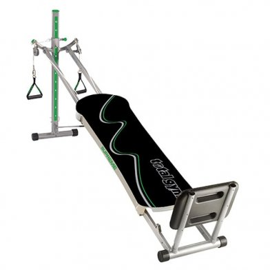 The Total Gym Supreme includes a squat stand.